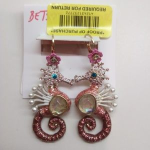 Betsey Johnson Jewelry - Betsey Johnson New Magenta Seahorse Earrings